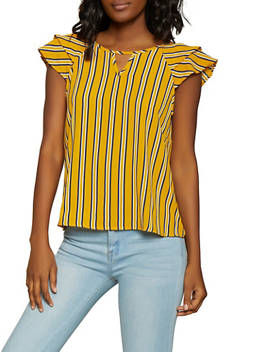 Striped Tiered Sleeve Top,GOLD,large