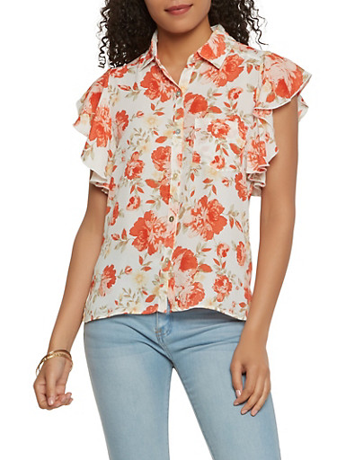 Floral Button Front Top,IVORY,large
