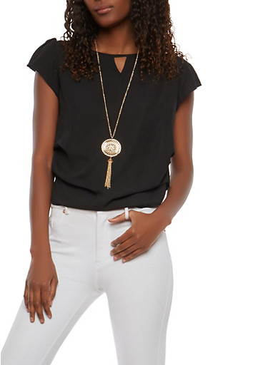Short Sleeve Ruched Top with Necklace,BLACK,large