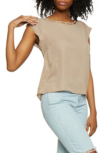 Caged Scoop Neck Blouse,MOCHA,large