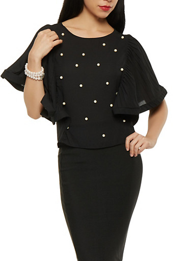 Faux Pearl Pleated Sleeve Top | Tuggl