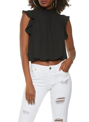 Smocked Neck Flutter Sleeve Top,BLACK,large