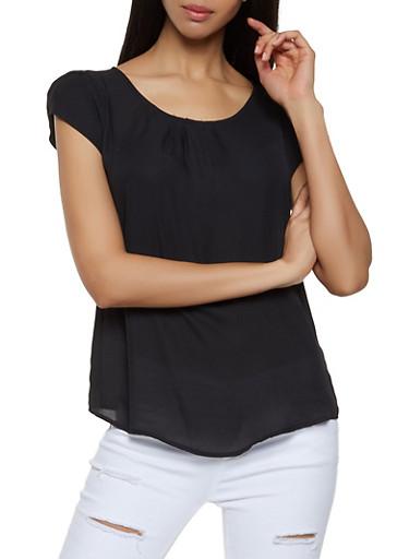 Tulip Cap Sleeve Blouse | 1001074292402,BLACK,large