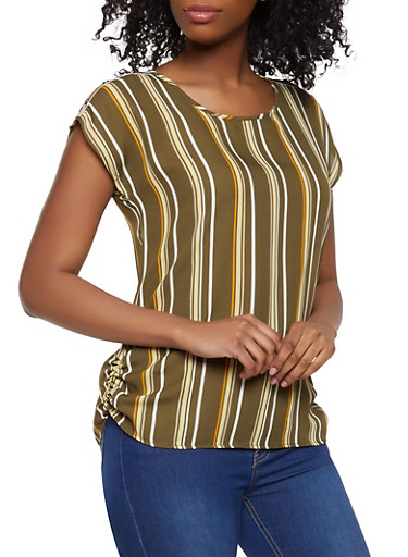 Ruched Side Striped Top,OLIVE,large