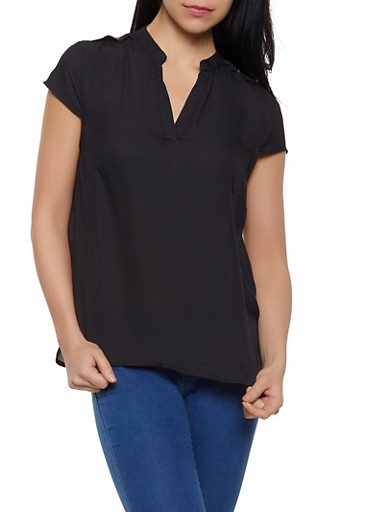 Button Cap Sleeve Top,BLACK,large