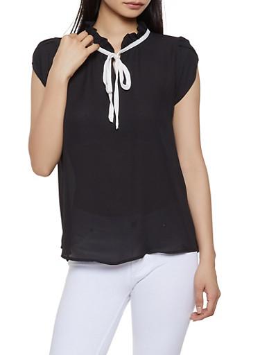 Tulip Cap Sleeve Blouse | 1001074292408,BLACK,large
