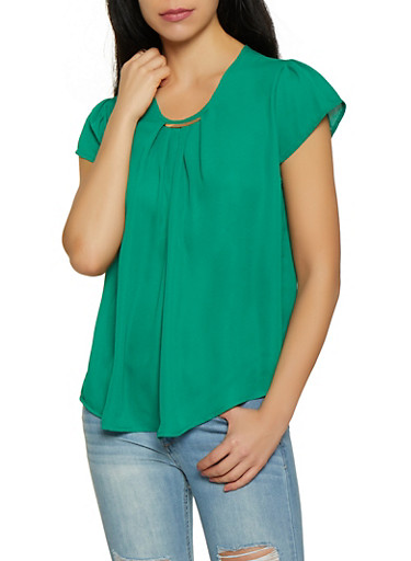 Metallic Neck Cap Sleeve Blouse,KELLY GREEN,large