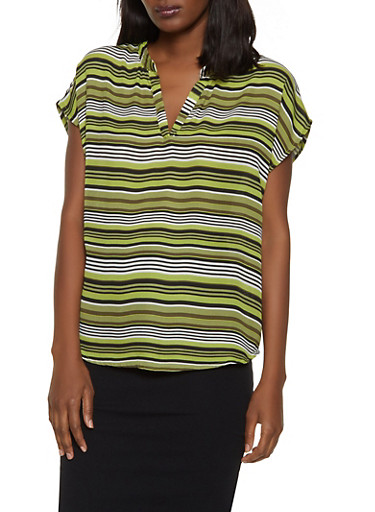Striped Cap Sleeve Top,OLIVE,large