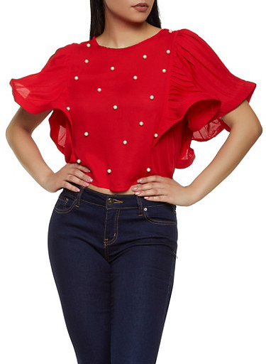 Pleated Sleeve Faux Pearl Studded Top,RED,large