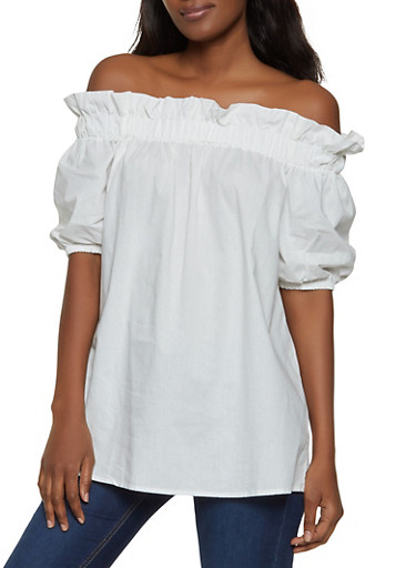 Ruffled Short Sleeve Off the Shoulder Top,WHITE,large