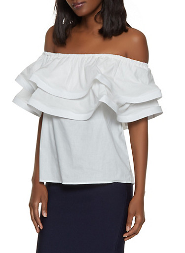 Off the Shoulder Tiered Ruffle Top,WHITE,large