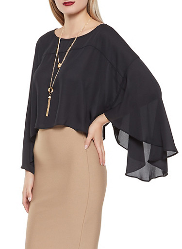 Flutter Sleeve Blouse with Necklace,BLACK,large
