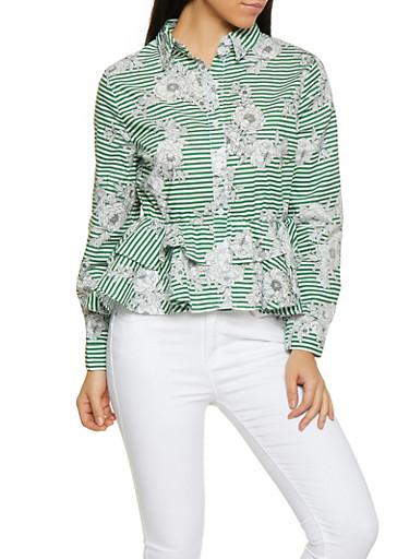 Floral Striped Peplum Shirt,GREEN,large