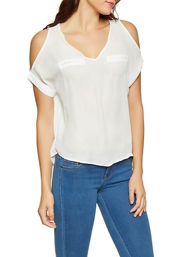 Cold Shoulder Blouse,WHITE,large