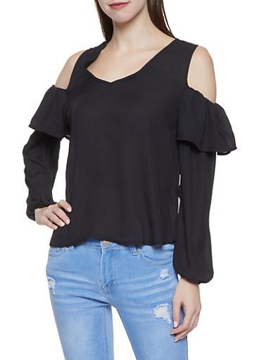 Ruffled Cold Shoulder Blouse,BLACK,large