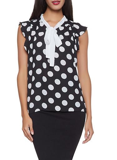 Polka Dot Tie Neck Blouse   1001074292880,BLACK/WHITE,large