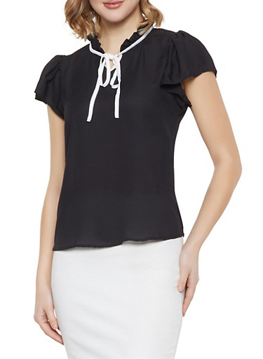 Ruffled Contrast Tie Neck Blouse,BLACK,large