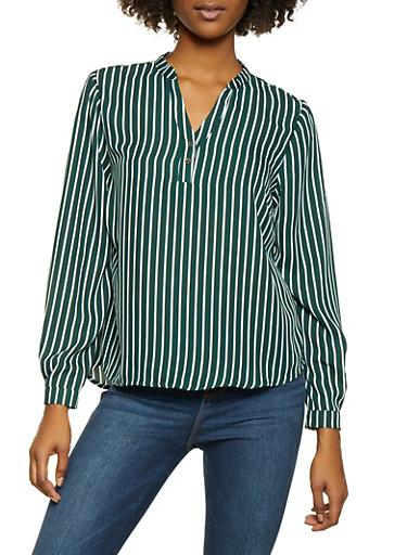 Striped Long Sleeve Shirt,HUNTER,large