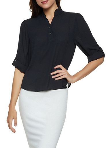 Tabbed Sleeve Half Button Blouse,BLACK,large