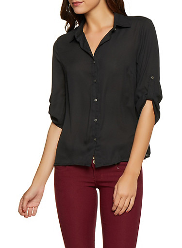 Tabbed Sleeve Button Front Blouse,BLACK,large