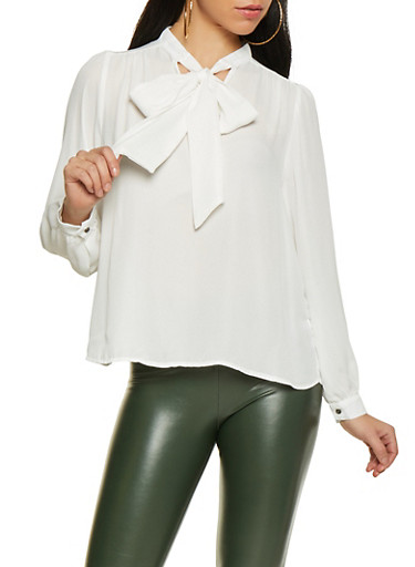 Tie Neck Blouse,WHITE,large