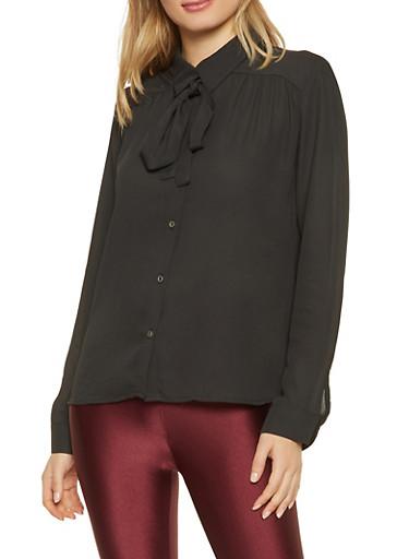 Tie Neck Button Front Blouse,BLACK,large