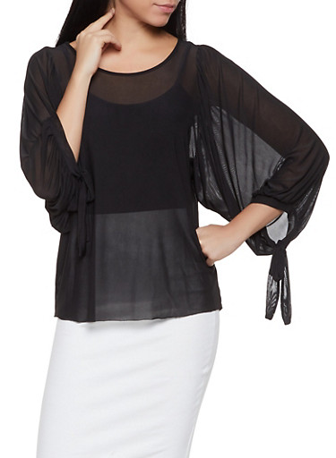 Tie Sleeve Mesh Top,BLACK,large