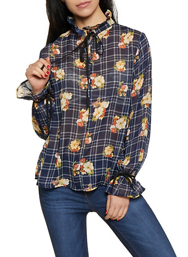Plaid Floral Bell Sleeve Blouse,NAVY,large
