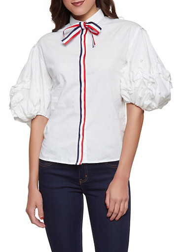 Faux Pearl Sleeve Button Front Shirt,WHITE,large