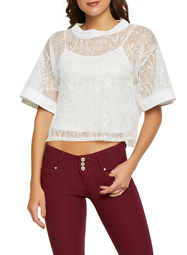 Embroidered Mesh Top with Cami,WHITE,large