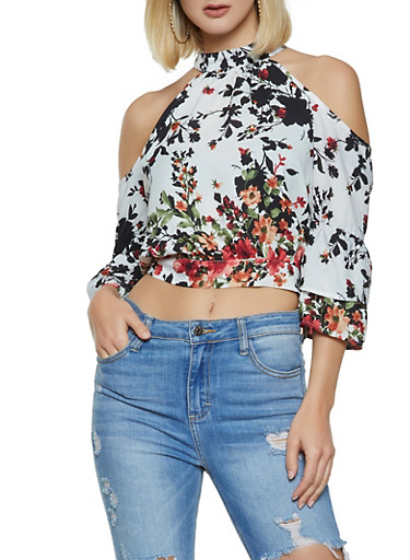 Floral Tiered Sleeve Cold Shoulder Top,IVORY,large