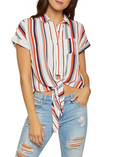 Striped Tie Button Front Shirt,WHITE,large