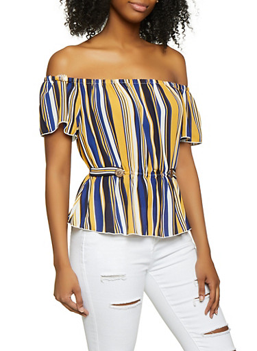 Striped Off the Shoulder Peplum Top,MUSTARD,large