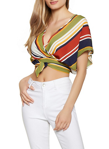 Striped Faux Wrap Crop Top | 1001074297103,MUSTARD,large