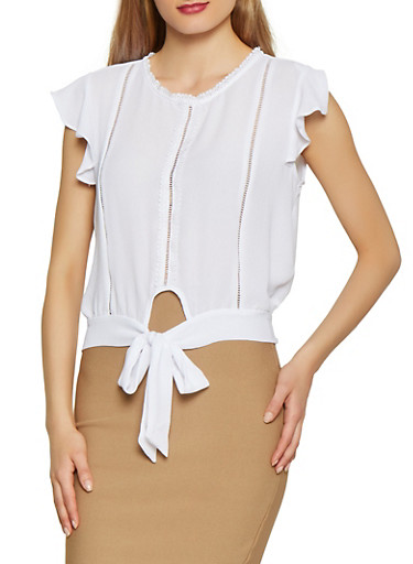 Tie Front Flutter Sleeve Blouse,WHITE,large
