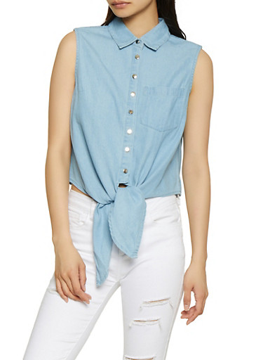 Sleeveless Button Front Denim Top,LIGHT WASH,large