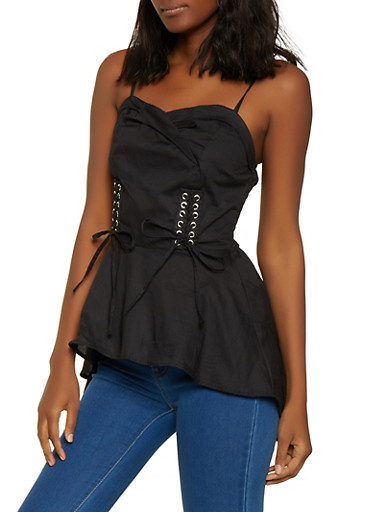 Fold Over High Low Poplin Top,BLACK,large