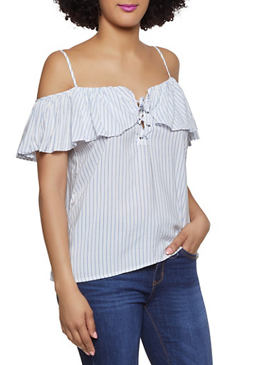 Striped Lace Up Cold Shoulder Top,WHITE,large