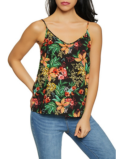 Floral Printed Cami,BLACK,large