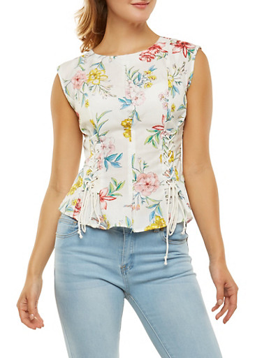 Lace Up Detail Floral Top,IVORY,large