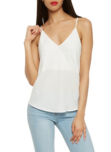 Caged Back Crepe Knit Cami,WHITE,large