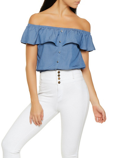 Off the Shoulder Chambray Top,MEDIUM WASH,large
