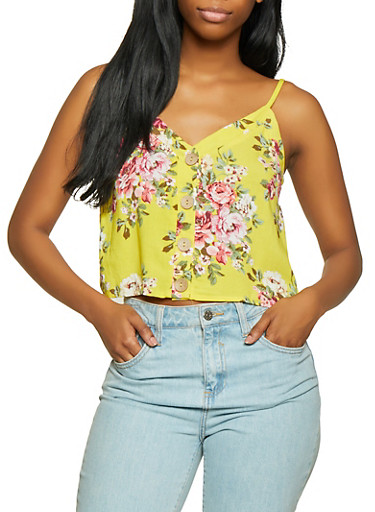 Floral Button Cropped Cami,YELLOW,large