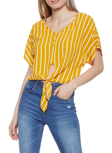 Striped Tie Front Crepe Knit Top,MUSTARD,large