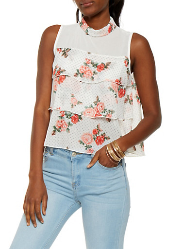 Printed Tiered Top,IVORY,large