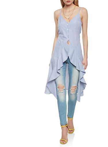 Sleeveless Striped Flyaway Shirt,BLUE MULTI,large