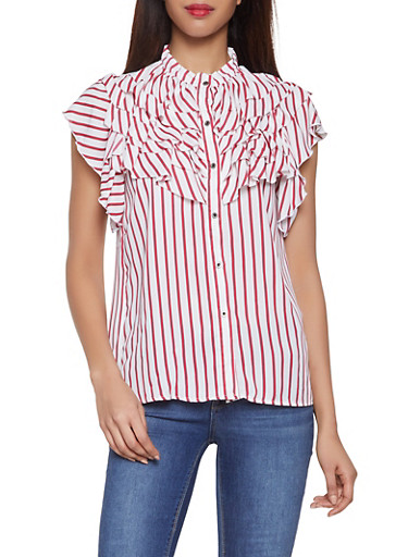 Ruffle Striped Button Front Shirt,IVORY,large