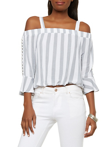 Faux Pearl Bell Sleeve Off the Shoulder Top,BLACK/WHT,large