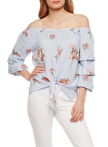 Floral Striped Off the Shoulder Top,CHAMBRAY,large