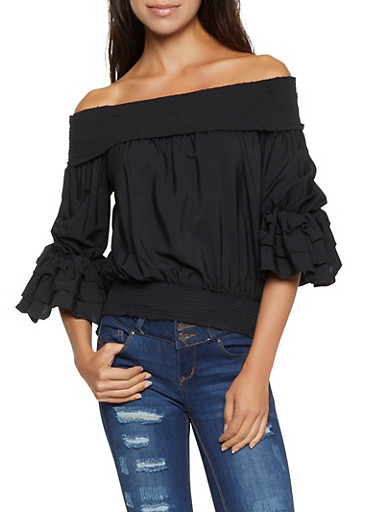 Tiered Sleeve Off the Shoulder Top,BLACK,large